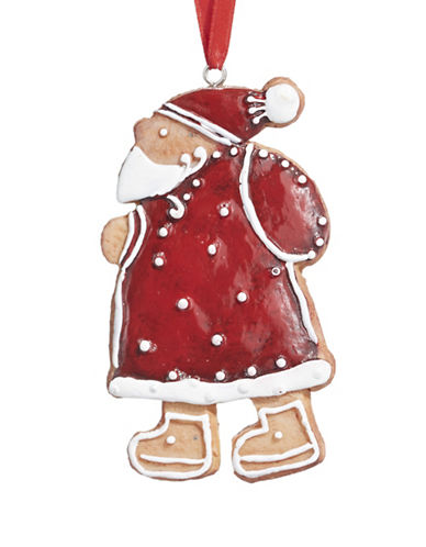 Christmas Street Aspen Charm Santa Cookie Ornament-RED-One Size