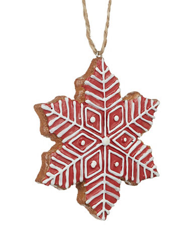 Christmas Street Winter Chalet Snowflake Cookie Ornament-RED-One Size