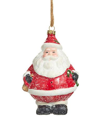 Christmas Street Winter Chalet Glitter Santa Ornament-MULTI-One Size
