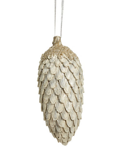 Glucksteinhome Noel Blanc Pinecone Ornament-SILVER-One Size