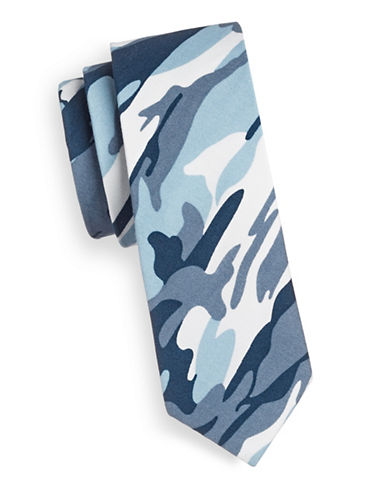 Haight And Ashbury Slim Camouflage Cotton Tie-BLUE-One Size