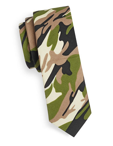 Haight And Ashbury Slim Camouflage Cotton Tie-GREEN-One Size