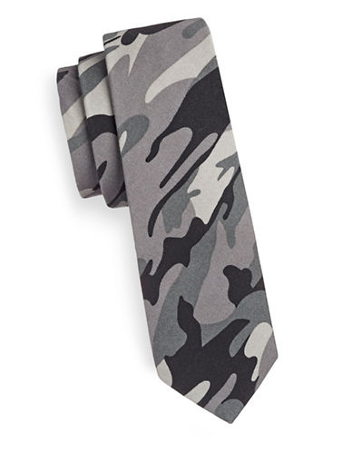 Haight And Ashbury Slim Camouflage Cotton Tie-GREY-One Size
