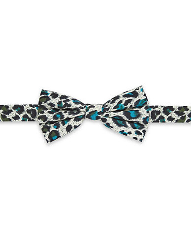 Haight And Ashbury Leopard Print Cotton Pre-Tied Bow Tie-TURQUOISE-One Size