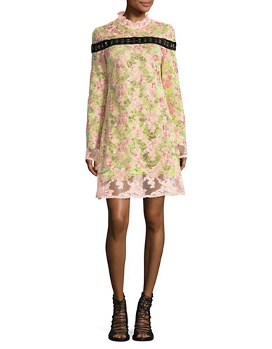 Marques Almeida Hook-and-Eye Trim Lace Shift Dress-PINK MULTI-Small