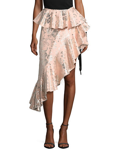 Marques Almeida Asymmetric Frilled Brocade Skirt-PINK-12