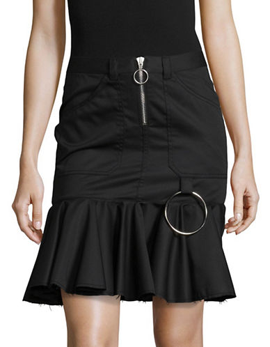 Marques Almeida Flounce Hem Drill Skirt-BLACK-6