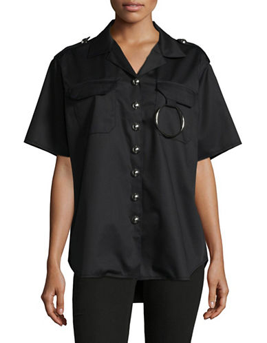 Marques Almeida Two-Pocket Drill Shirt-BLACK-Small