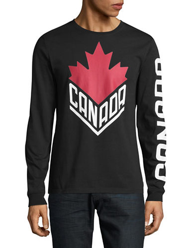 Canadian Olympic Team Collection Mens Long Sleeve Wordmark T-Shirt-BLACK-Large