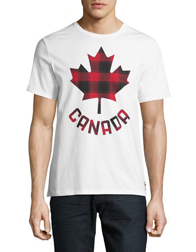 Canadian Olympic Team Collection Mens Buffalo Check Maple Leaf T-Shirt-WHITE-Large