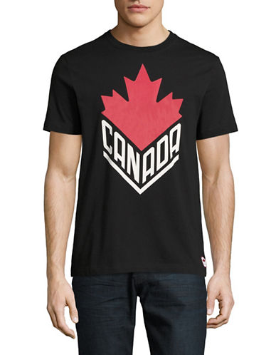 Canadian Olympic Team Collection Mens Canada Wordmark Core T-Shirt-BLACK-Small