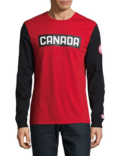 Canadian Olympic Team Collection Mens Long Sleeve Colourblock Tee-RED-X-Large