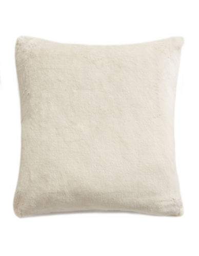 Glucksteinhome Snowy Faux Fur Throw Pillow-WHITE-One Size