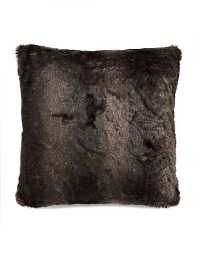Glucksteinhome Faux Fur Throw Pillow-DARK BROWN-One Size