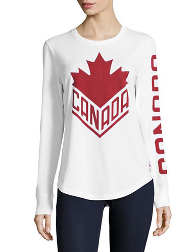 Canadian Olympic Team Collection Womens Long-Sleeve Wordmark Tee-WHITE-Small