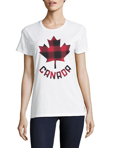 Canadian Olympic Team Collection Womens Buffalo Check Leaf Tee-WHITE-X-Small