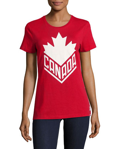 Canadian Olympic Team Collection Womens Canada Wordmark Core T-Shirt-RED-X-Small