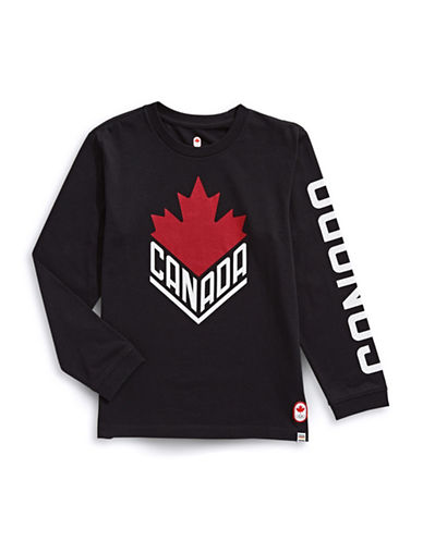 Canadian Olympic Team Collection Boys Wordmark T-Shirt-BLACK-10-12