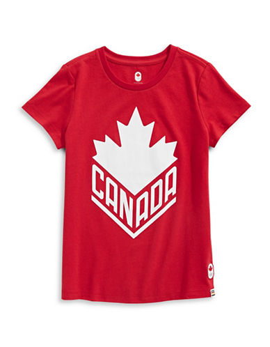 Canadian Olympic Team Collection Boys Canada Wordmark  Core Tee-RED-10-12