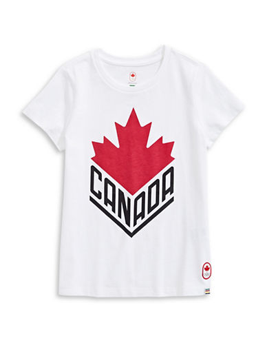 Canadian Olympic Team Collection Girls Canada Wordmark Core Tee-WHITE-7-8