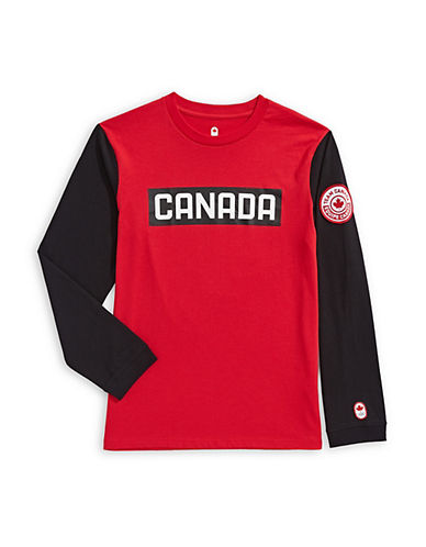 Canadian Olympic Team Collection Boys Long Sleeve Colourblock T-Shirt-RED-10-12