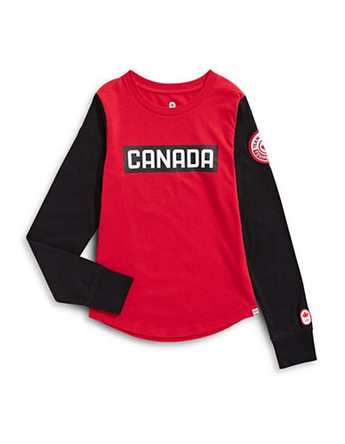 Canadian Olympic Team Collection Toddler Unisex Long Sleeve Colourblock Logo T-Shirt-RED-3-4