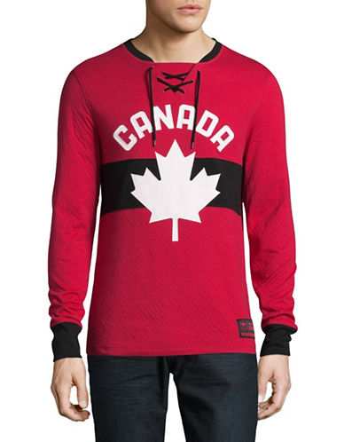 Canadian Olympic Team Collection Mens Double-Knit Henley-RED-X-Large