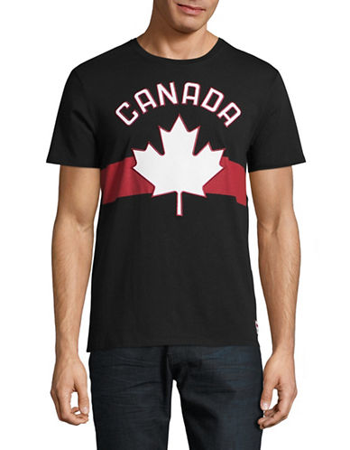 Canadian Olympic Team Collection Mens Maple Leaf Applique T-Shirt-BLACK-Medium