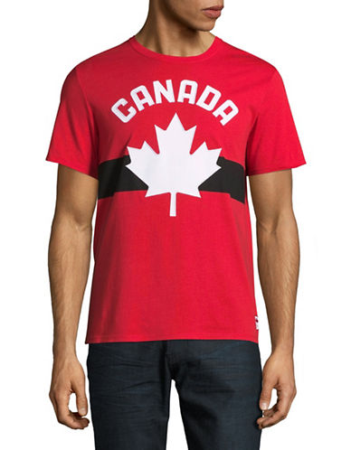 Canadian Olympic Team Collection Mens Maple Leaf Applique T-Shirt-RED-Large