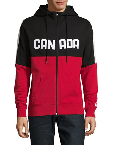 Canadian Olympic Team Collection Mens Colourblocked Fleece Hoodie-RED-XX-Large