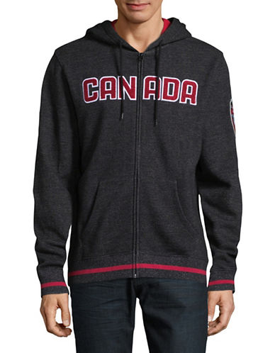 Canadian Olympic Team Collection Mens Marled Fleece Hoodie-BLACK-Medium