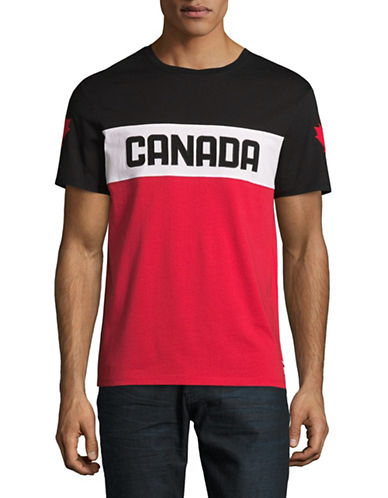 Canadian Olympic Team Collection Mens Media Colourblock T-Shirt-RED-Large