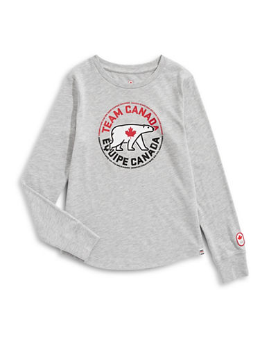 Canadian Olympic Team Collection Girls Polar Bear Long Sleeve T-Shirt-GREY MIX-7-8