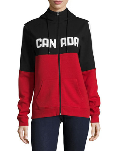 Canadian Olympic Team Collection Womens Colourblock Fleece Hoodie-RED-Large