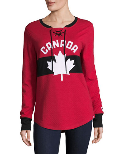 Canadian Olympic Team Collection Womens Double-Knit Lace-Up Henley-RED-Medium