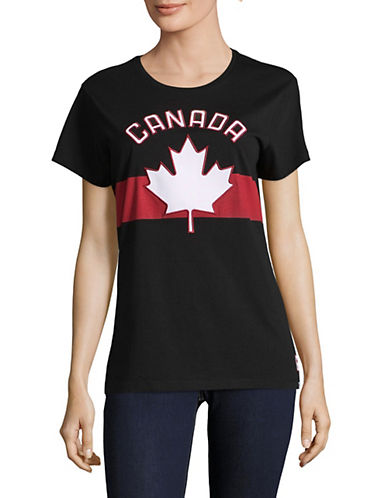 Canadian Olympic Team Collection Womens Maple Leaf Applique Tee-BLACK-X-Small