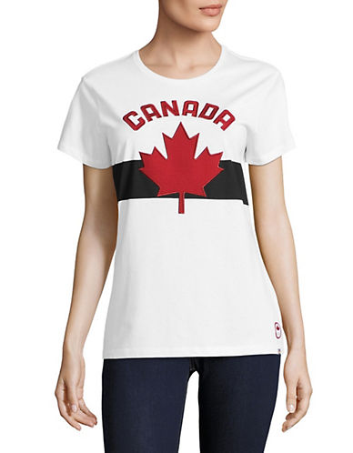 Canadian Olympic Team Collection Womens Maple Leaf Applique Tee-WHITE-X-Small