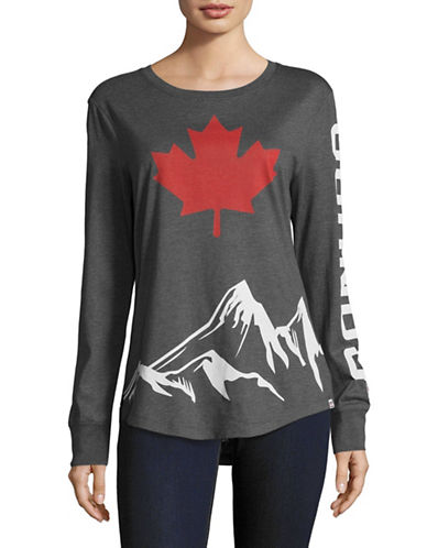 Canadian Olympic Team Collection Womens Long Sleeve Mountain Peak T-Shirt-CHARCOAL-Medium