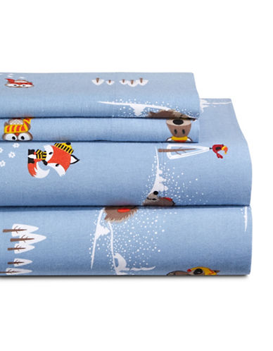 Distinctly Home Woodland Friends Flannel Sheet Set-MULTI-Queen