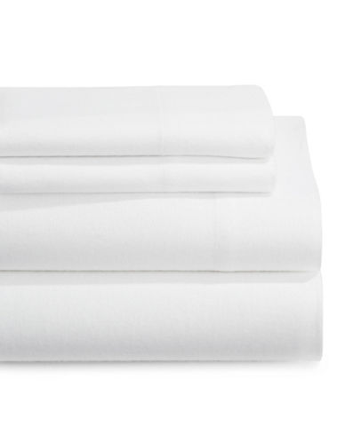 Distinctly Home Four-Piece Flannel Sheet Set-WHITE-Twin