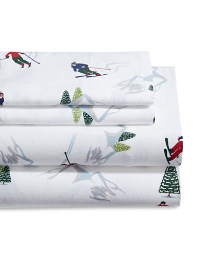 Distinctly Home Vintage Skiing Four-Piece Flannel Sheet Set-MULTI-Twin