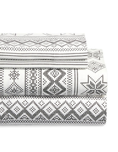Distinctly Home Cross-Stitch Four-Piece Flannel Sheet Set-WHITE/BLACK-Double