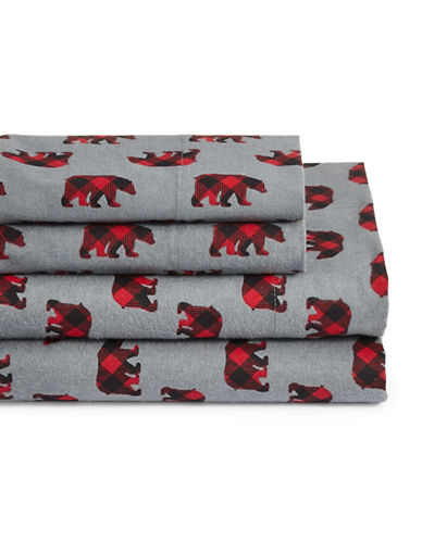Distinctly Home Four-Piece Bear Sheet Set-GREY-Twin