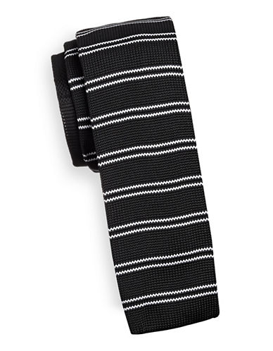 Haight And Ashbury Slim Striped Knit Tie-BLACK-One Size