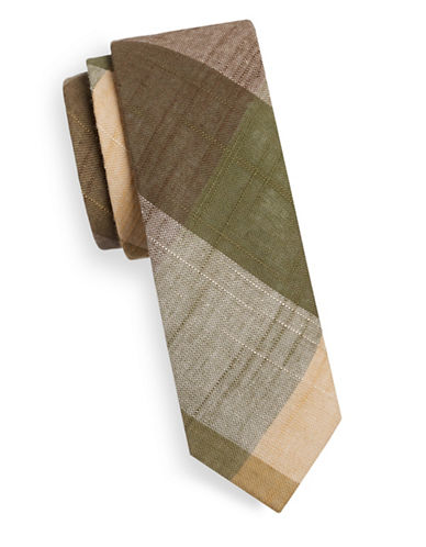 Haight And Ashbury Slim Madras Plaid Linen-Blend Tie-GREEN-One Size
