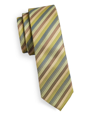 Haight And Ashbury Slim Multi Stripe Silk Tie-GREEN/OLIVE-One Size