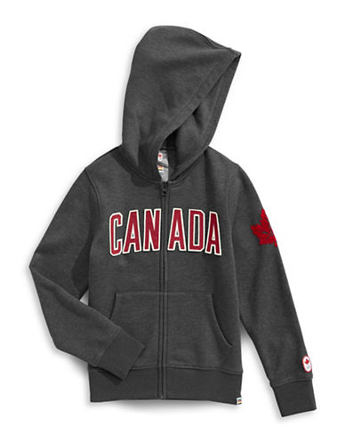 Canadian Olympic Team Collection Boys Core Fleece Hoodie-CHARCOAL-10-12