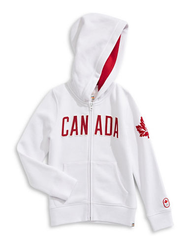 Canadian Olympic Team Collection Girls Core Fleece Hoodie-WHITE-7-8