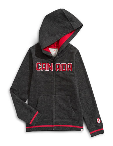 Canadian Olympic Team Collection Boys Marled Fleece Hoodie-BLACK-14-16