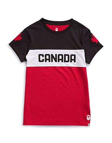 Canadian Olympic Team Collection Boys Canada Media T-Shirt-RED-7-8